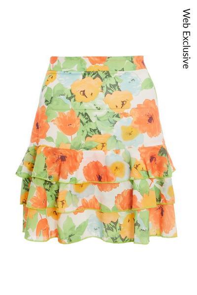 Orange and Green Chiffon Floral Skirt